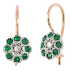 Handcrafted Italian Diamond and Emerald Floral Drop Earrings
