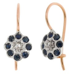 Handcrafted Italian Diamond and Sapphire Floral Drop Earrings