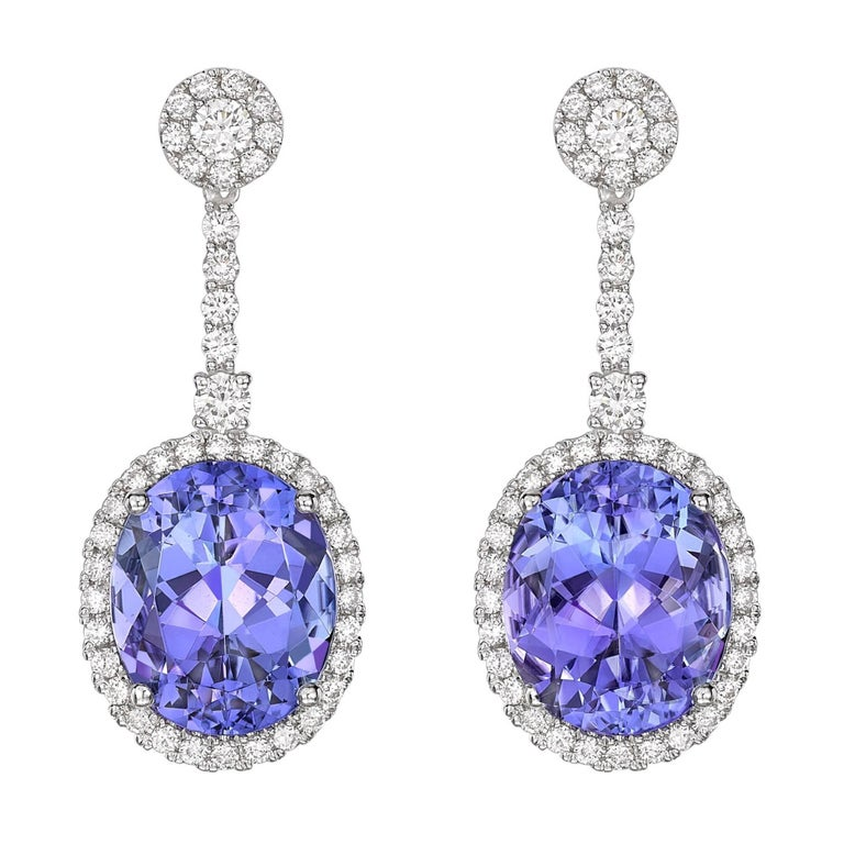 Kiki Mcdonough 18 Carat White Gold Tanzanite And Diamond Earrings For