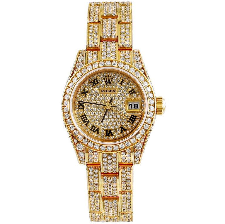 Rolex Yellow Gold Diamond Datejust automatic Wristwatch