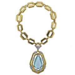 David Webb 117 Carat Aquamarine Diamond Gold Platinum Necklace Bracelet Suite