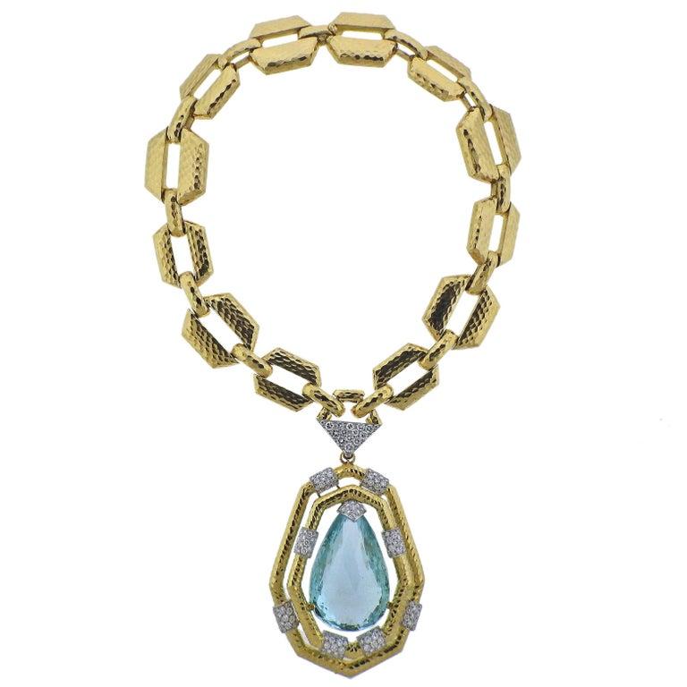 David Webb 117 Carat Aquamarine Diamond Gold Platinum Necklace Bracelet Suite