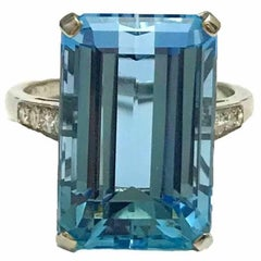 11.20 Carat Aquamarine and Diamond Platinum Cocktail Ring