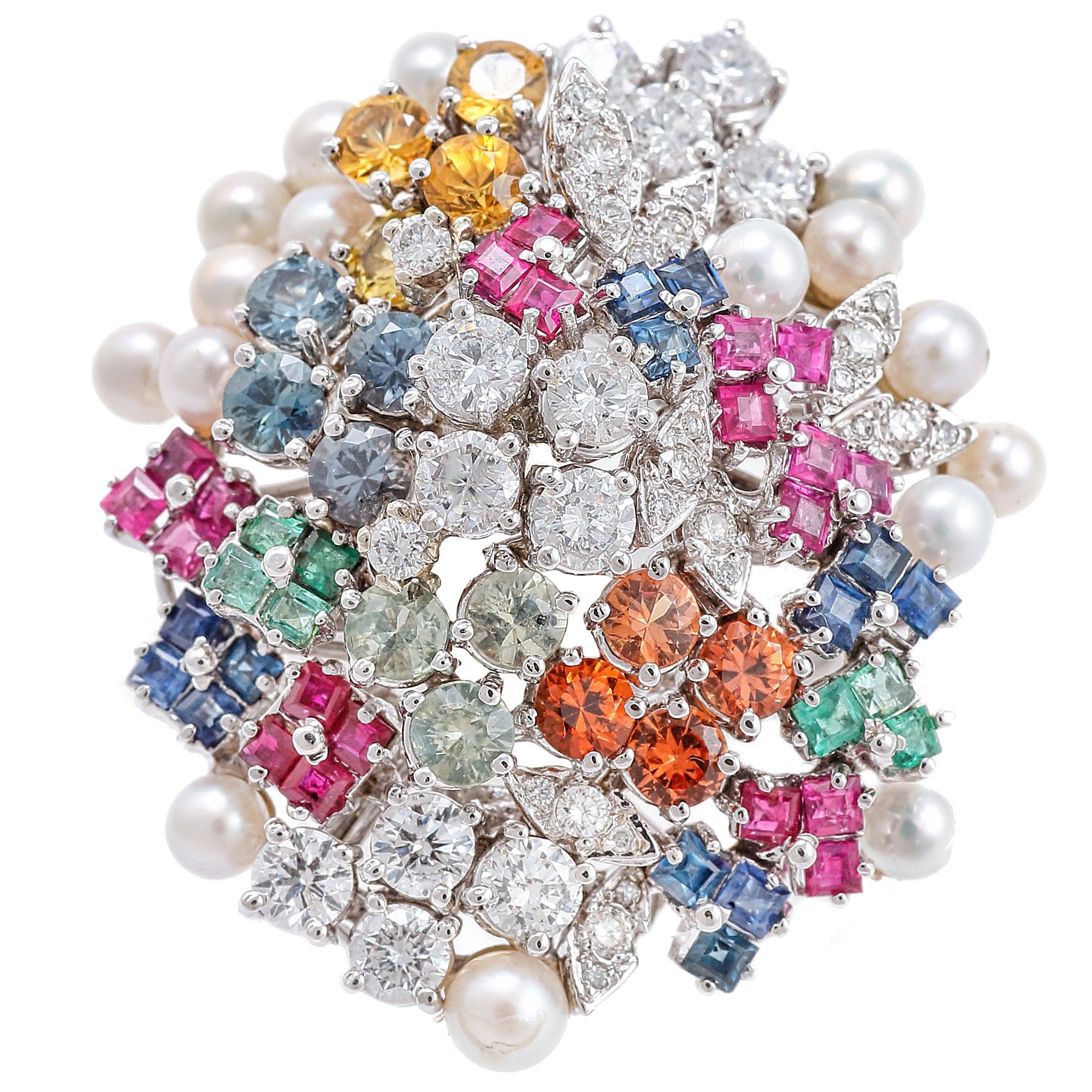 Diamonds Pearls Rubies Sapphires Emeralds White Gold Ring