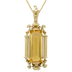 1940s 10.98 Carat Citrine and Yellow Gold Pendant