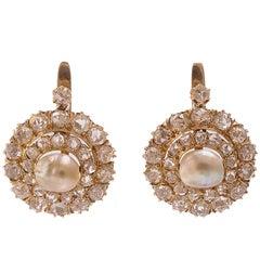 Diamonds Pearls Rose Gold Earrings