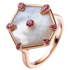 Fei Liu Rose Gold Hexagon Shape Ring with Pink Sapphires, White Mother-of-Pearls