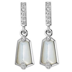 Fei Liu 18 Karat Kite Shape Small Drop Earrings with Diamonds Mother of Pearls