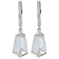 Fei Liu White Gold Kite Shape Medium Earrings With Diamonds, White Mother Pearls