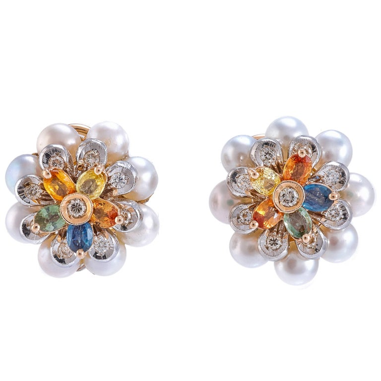 Diamonds Pearls Sapphires Yellow and White Gold Earrings