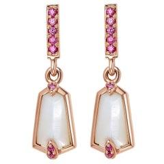 Fei Liu  18 Karat Rose Gold Kite Shape Small Drop Earrings with Pink Sapphire