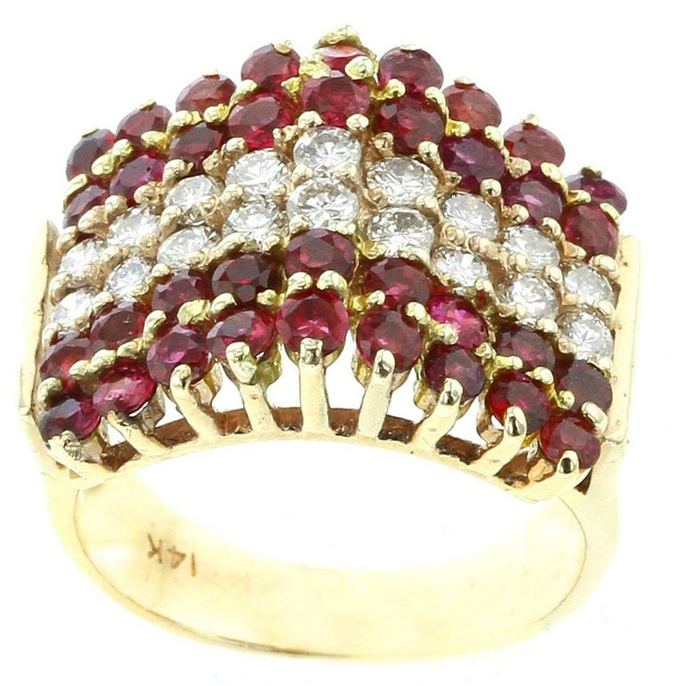 Triangular Ruby and Diamond 14 Karat Yellow Gold Ring