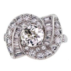 Art Deco Circa 1930s Platinum Diamond Cocktail Ring