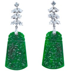2.30 Carat Diamond and Platinum 'Day/Night' Jade Earrings