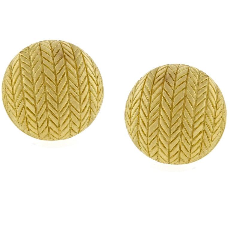 Large Buccellati Gold Herringbone Button Earrings
