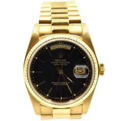 Rolex Yellow Gold President Black Dial Day-Date automatic Wristwatch Ref 18038