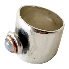 Sam Kramer Moonstone Sterling Silver Modernist Band Ring