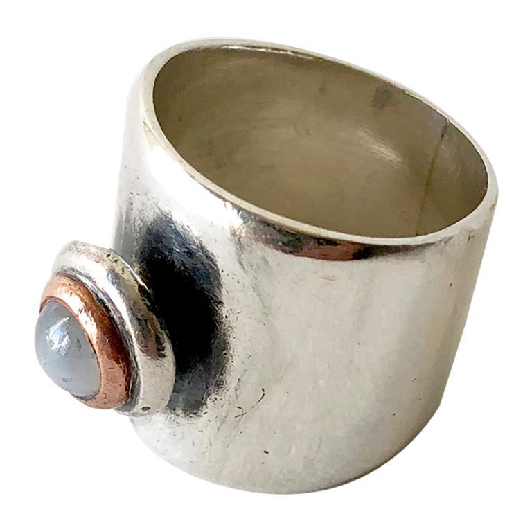 Sam Kramer Moonstone Sterling Silver Wide Band Ring For Sale