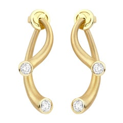 Modern Yellow Gold and .75 Carat Diamond Carelle Whirl Earrings In Stock