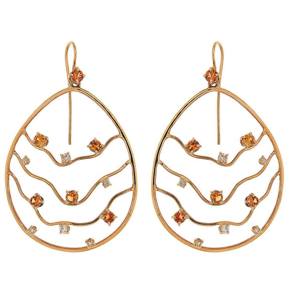 Orange Sapphires Diamonds 18K Rose Gold Earrings Made In Italy By Botta Gioielli