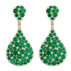 Bespoke Yellow Gold 10.56 Carat Emerald and 1.45 Carat Diamond Teardrop Earrings