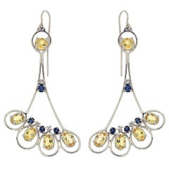 Blue Sapphires Yellow Beryls Diamonds White Gold Earrings Handcrafted In Italy