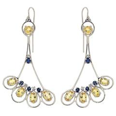 Blue Sapphires Yellow Beryls Diamonds White Gold Earrings Modern