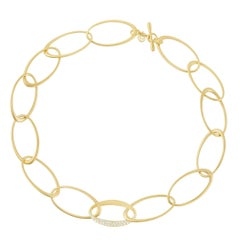 Modern 18 Karat Yellow Gold and 1.02 Carat Diamond Carelle Interlinks Necklace