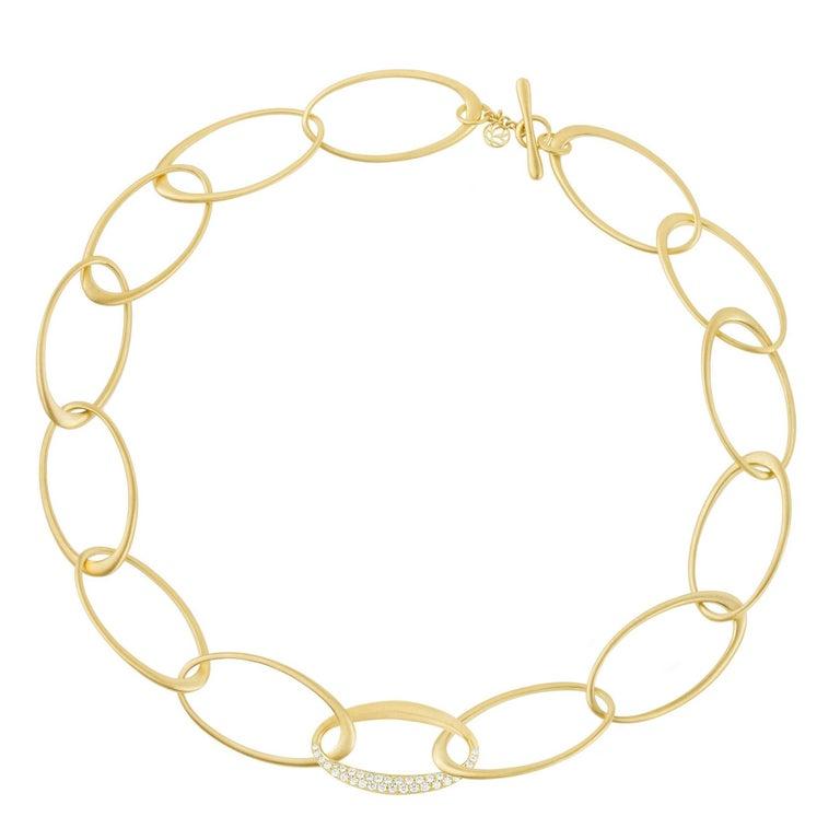 Modern 18 Karat Yellow Gold and 1.02 Carat Diamond Carelle Interlinks Necklace