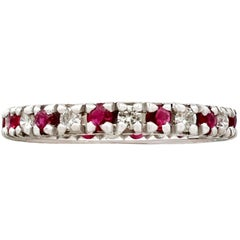 1970s Ruby Diamond White Gold Eternity Ring