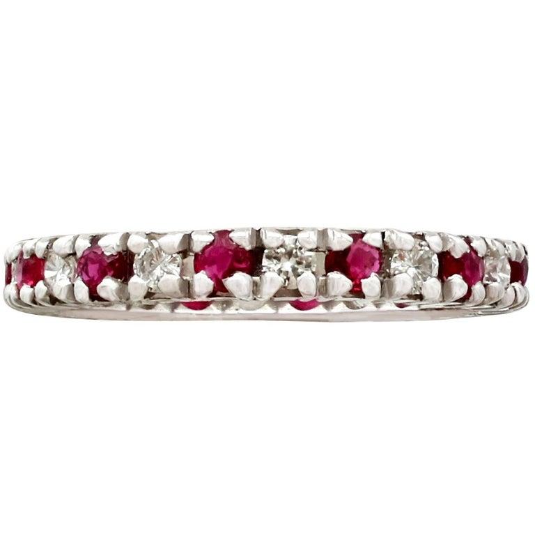 1970s Ruby Diamond White Gold Eternity Ring