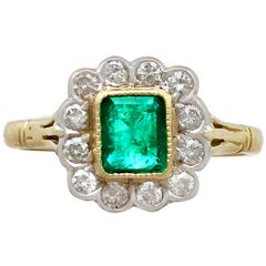 Vintage Emerald Diamond Yellow Gold Cluster Ring