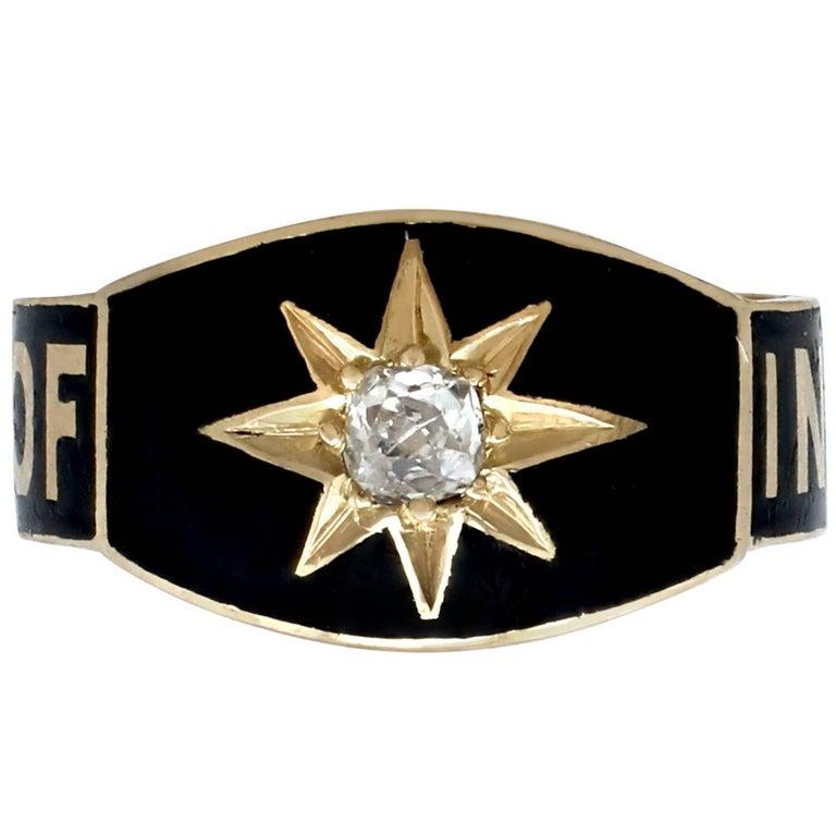 Victorian Diamond Black Enamel Yellow Gold Mourning Ring