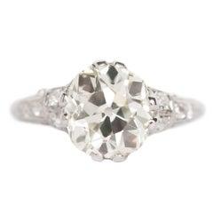 GIA Certified 3.09 Carat Diamond Platinum Engagement Ring
