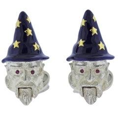 Deakin & Francis Sterling Silver Enamel Wizard Cufflinks