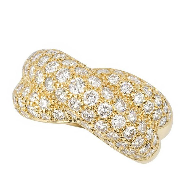 Van Cleef & Arpels Yellow Gold Diamond Set Crossover Ring