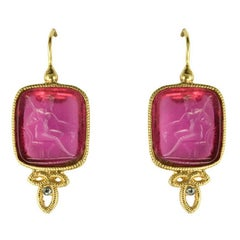 Italian Red Cameo Vermeil Drop Earrings