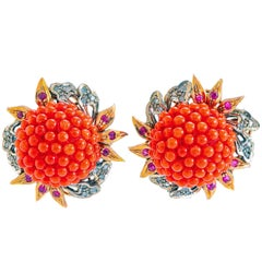 Diamonds Corals Rubies Rose White Gold and Silver Earrings