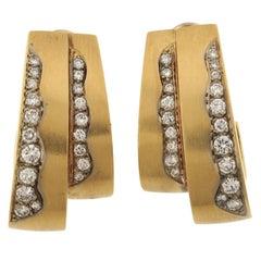 Boris Lebeau Retro Earrings 1977 18 Karat Yellow Gold 1.70 Carat Total