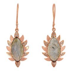 Claw Single Drop Earrings Labradorite and Alt Diamonds