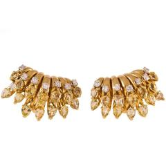 Jean Schlumberger Yellow Tourmaline Diamond Gold Ear Clips