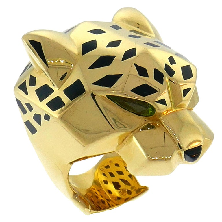 Panthere de Cartier Yellow Gold Ring Black Lacquer Onyx Peridot