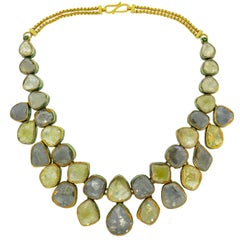 Mogul Rose Cut Diamond Enamel Yellow Gold Necklace