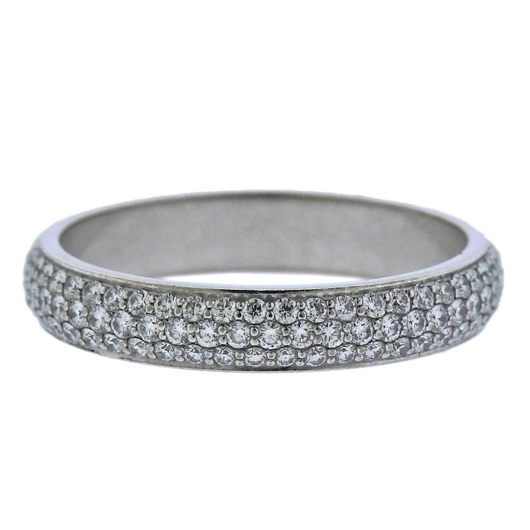 Cartier Pave Diamond Gold Eternity Wedding Band Ring