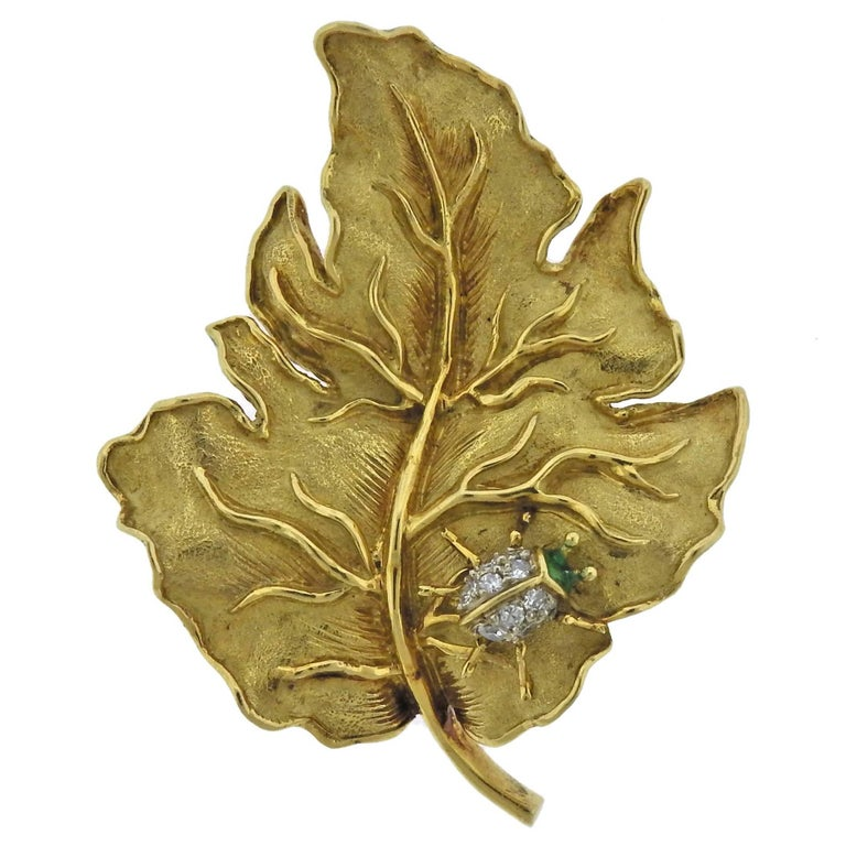 Tiffany & Co. Diamond Emerald Gold Ladybug Leaf Brooch