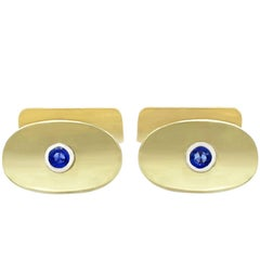 Vintage Sapphire and Yellow Gold Cufflinks