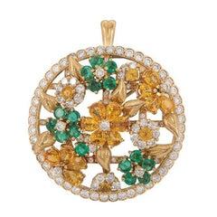 Diamond and Multi-Gem Floral Pendant/Brooch