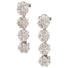 1.20 Carat Diamond Cluster White Gold Drop Dangle Earrings
