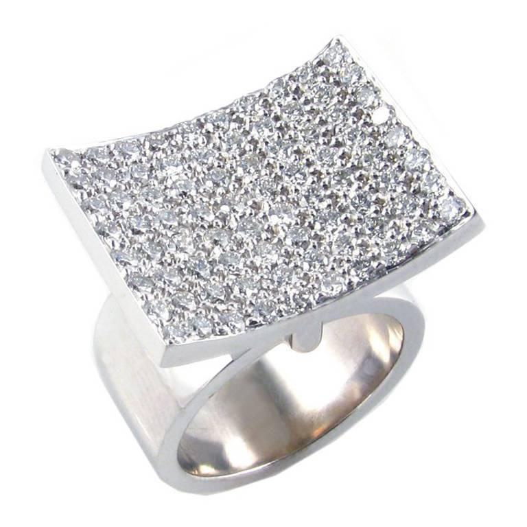 White Gold Ring with 2.40 Carat Pave Diamonds