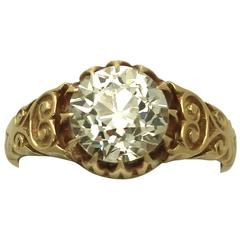 Antique Victorian 2.30 Carat Diamond 18k Yellow Gold Solitaire Ring